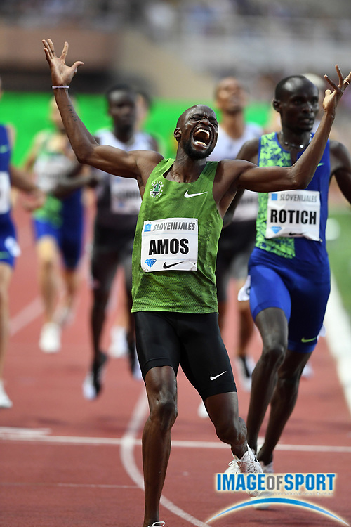 Nijel Amos (BOT) celebrates after winning the 800m in a meet record 1:41.89 during the Herculis Monaco in an IAAF Diamond League meet at Stade Louis II stadium in Fontvieille, Monaco on Friday, July 12, 2019. (Jiro Mochizukii/Image of Sport)