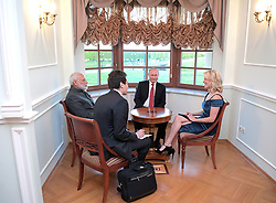 June 1, 2017 - St. Petersburg, Russia - NBC journalist Megyn Kelly, right, smiles as she interviews India's Prime Minister Narendra Modi, left, and Russian President Vladimir Putin, center, in the Constantine (Konstantinovsky) Palace at the St. Petersburg International Economic Forum in St. Petersburg, Russia, Thursday, June 1, 2017. Modi's visit to Russia comes amid he and other world leaders expressed commitment to fighting climate change after U.S. President Donald Trump indicated that the U.S. might pull out of the Paris climate accords. ALEXEI DRUZHININ/POOL/PI (Credit Image: © Prensa Internacional via ZUMA Wire)