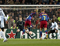 Photo: Chris Ratcliffe.<br /> Barcelona v Chelsea. UEFA Champions League. 07/03/2006.<br /> Ronaldinho scores the Barcelona goal