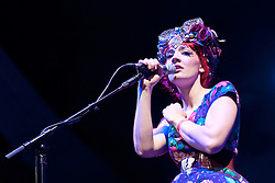 Cheltenham Jazz Festival, Cheltenham, United Kingdom, Gabby Young and Other Animals perform at Cheltenham Jazz Festival 2013. The world's finest purveyors of circus swing, with seductive vocals, a nod to burlesque and a charismatically quirky performance style, Gabby Young and Other Animals light up The Big Top stage at the festival, with a classy reimaging of vaudeville, cabaret and folk. Monday 06 May, 2013, Photo by: i-Images