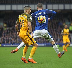 Anthony Knockaert of Brighton and Hove Albion (L) and Gylfi Sigurdsson of Everton in action - Mandatory by-line: Jack Phillips/JMP - 10/03/2018 - FOOTBALL - Goodison Park - Liverpool, England - Everton v Brighton and Hove Albion - English Premier League