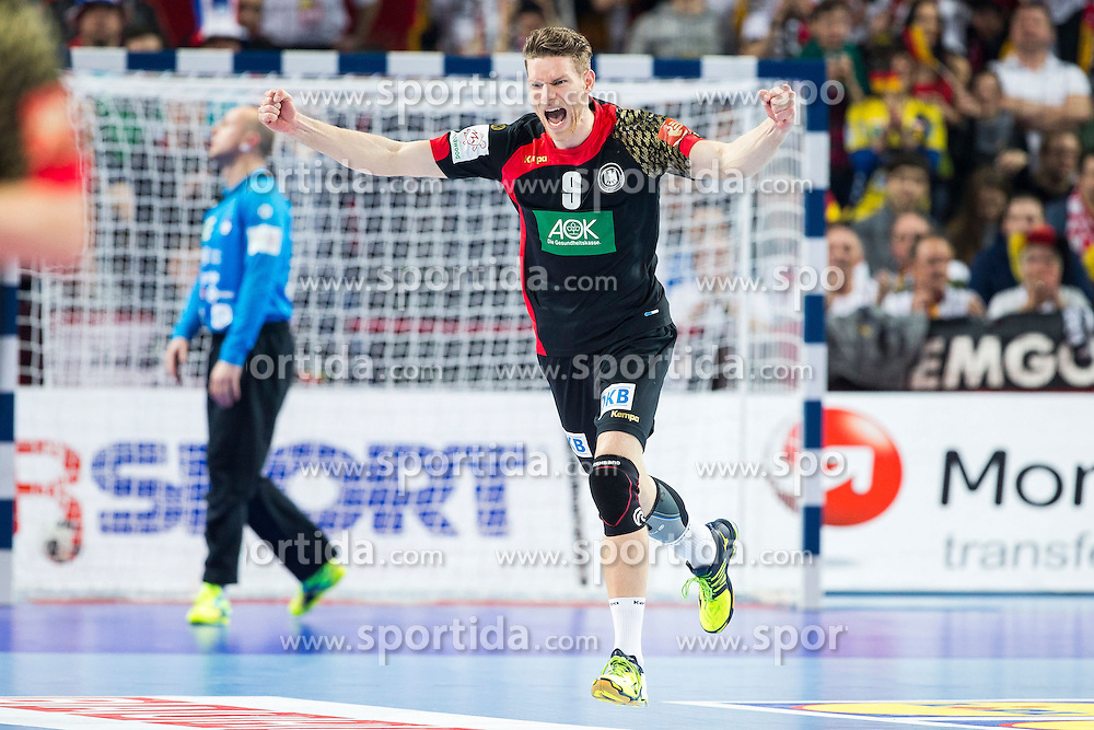 20.01.2016, Jahrhunderthalle, Breslau, POL, EHF Euro 2016, Deutschland vs Slowenien, Gruppe C, im Bild Tobias Reichmann (Nr. 9, KS Vive Tauron Kielce/POL) freut sich ueber ein Tor. // during the 2016 EHF Euro group C match between Germany and Slovenia at the Jahrhunderthalle in Breslau, Poland on 2016/01/20. EXPA Pictures &copy; 2016, PhotoCredit: EXPA/ Eibner-Pressefoto/ Koenig<br /> <br /> *****ATTENTION - OUT of GER*****