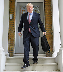 © Licensed to London News Pictures. 15/06/2019. London, UK. Conservative Party leadership candidates BORIS JOHNSON leaves his London home. Former Foreign Secretary and figurehead of the leave campaign, Boris Johnson has cemented his position as favourite to become the next Prime Minster after winning a landslide in the first round of the conservative party's leadership race. Photo credit: Ben Cawthra/LNP
