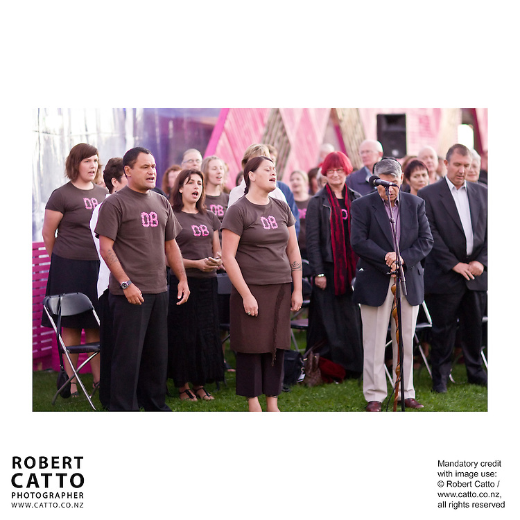 Artists and staff gather for the dawn ceremony, to mark the launch of the 2008 New Zealand International Arts Festival in Wellington.