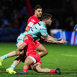 Cheslin KOLBE of Toulouse and Jason WOODWARD of Gloucester during the European Rugby Champions Cup, Pool 5 match between Toulouse and Gloucester on January 19, 2020 in Toulouse, France. (Photo by Manuel Blondeau/Icon Sport) - Stade Ernest-Wallon - Toulouse (France)