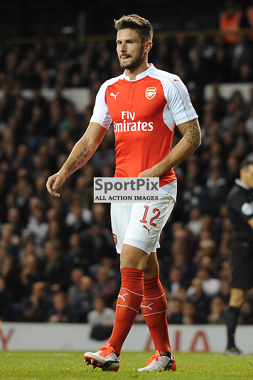 Arsenals Oliver Giroud in action during the Capital One Cup third round tie between Tottenham and Arsenal on 23rd September 2015