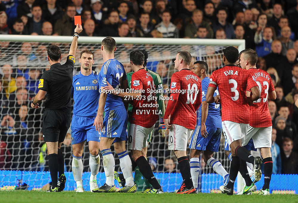 28/10/2012 - Barclays Premier League Football - 2012-2013 - Chelsea v Manchester United - Chelsea's Branislav Ivanovic is sent off for Chelsea. - Photo: Charlie Crowhurst / Offside.