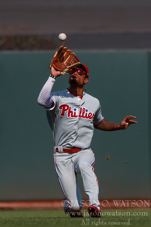 SAN FRANCISCO, CA - AUGUST 20: Nick Williams #5 of the Philadelphia Phillies catches a fly ball against the San Francisco Giants during the ninth inning at AT&T Park on August 20, 2017 in San Francisco, California. The Philadelphia Phillies defeated the San Francisco Giants 5-2. (Photo by Jason O. Watson/Getty Images) *** Local Caption *** Nick Williams