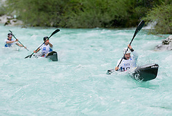 (L-R) Nejc Znidarcic, Simon Oven and Tim Kolar of Slovenia compete in 3 x K1 men at sprint teams race at European wildwater Canoeing Championships Soca 2013 on May 12, 2013 in Trnovo ob Soci, Soca river, Slovenia. (Photo By Vid Ponikvar / Sportida)