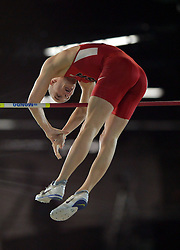 Sam Kendricks of the USA competes in the Men's Pole Vault Final during day one of the IAAF World Indoor Championships at Oregon Convention Center in Portland, Oregon, the United States, on March 17, 2016. Sam Kendricks won the second place with 5.80 meters. EXPA Pictures © 2016, PhotoCredit: EXPA/ Photoshot/ Yin Bogu<br /> <br /> *****ATTENTION - for AUT, SLO, CRO, SRB, BIH, MAZ, SUI only*****