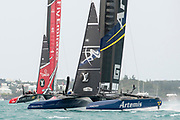 The Great Sound, Bermuda. 11th June 2017. Emirates Team New Zealand and Artemis Racing (SWE) in race four of the Louis Vuitton America's Cup Challenger playoff finals. Artemis won the race to level the standings at 2 - 2.
