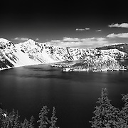 Wizard Island South Rim Edge View - Crater Lake - Black & White