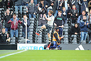 Fulham midfielder and captain, Scott Parker (08) celebrating scoring 1-1 during the Sky Bet Championship match between Fulham and Cardiff City at Craven Cottage, London, England on 9 April 2016. Photo by Matthew Redman.