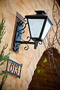 Decorative Outdoor Lighting and Address Stock Photo