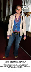 Actress SAMANTHA MORTON at a party in London on 3rd November 2003.<br /> POD 27