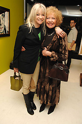 Left to right, JO WOOD and her mother RACHEL KARSLAKE at an exhibition of artist Paul Karslake's work entitled Ideas & Idols, held at Scream, 34 Bruton Street, London W1 on 21st February 2008.<br />