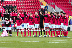 Rotherham United players stand together during a minute silence - Mandatory by-line: Ryan Crockett/JMP - 18/11/2017 - FOOTBALL - Aesseal New York Stadium - Rotherham, England - Rotherham United v Shrewsbury Town - Sky Bet League One