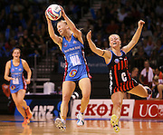 Shannon Francois of the Steel gathers the ball with Chloe Williamson of the Tactix in defence during the ANZ Championship Netball game between the Tactix v Steel at Horncastle Arena in Christchurch. 6th April 2015 Photo: Joseph Johnson/www.photosport.co.nz