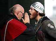 Jai Veda (left) attempts to calm an enraged camper following an altercation with another camper in the Occupy SF campsite on Thursday, Nov. 17, 2011, in San Francisco, Calif.  (AP Photo/Beck Diefenbach)