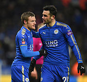 Leicester City forward Jamie Vardy (9) and Leicester City midfielder Vicente Iborra (21) celebrating after scoring a goal to make it 1-1 during the The FA Cup match between Leicester City and Chelsea at the King Power Stadium, Leicester, England on 18 March 2018. Picture by Jon Hobley.