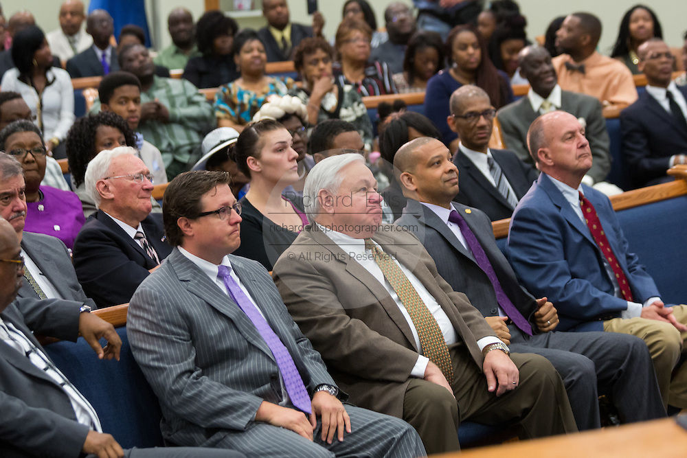 North Charleston Mayor Keith Summey during Rev. Al Sharpton as he addresses a healing service at Charity Missionary Baptist Church April 12, 2015 in North Charleston, South Carolina. Sharpton spoke following the recent fatal shooting of unarmed motorist Walter Scott police and thanked the Mayor and Police Chief for doing the right thing in charging the officer with murder.