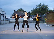 Dance Umbrella 2015 <br /> Launch <br /> Of Riders and Running Horses <br /> on the roof of the NCP car park Farringdon London Great Britain <br /> press photocall <br /> 13th October 2015 <br /> <br /> Isabelle Cressy<br /> <br /> Tilly Webber <br /> <br /> Tanya Richam-Odoi<br /> <br /> <br /> Photograph by Elliott Franks <br /> Image licensed to Elliott Franks Photography Services