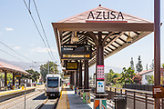 Metro Light Rail Leaving Downtown Azusa Station