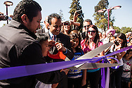 """Xander's Crossing,"" a 315-foot long prefabricated steel pedestrian bridge, was opened in San Jose on Friday, September 28, 2012. The bridge is named in honor of Alexander Arriaga, a 2-year-old boy who died after being struck by a train in 2005."