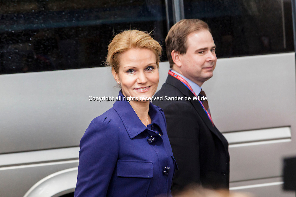 Helle Thorning-Schmidt, Prime minister of Denmark arrives for an EU summit in Brussels on Friday, Nov. 23, 2012. The prospect of failure hangs over a European Union leaders' summit intended to lay out the 27-country bloc's long-term spending plans. While heavyweights like Britain and France are pulling in opposite directions, smaller members are threatening to veto a deal to make themselves heard.