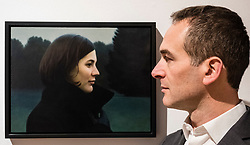 Edinburgh, Scotland, United Kingdom. 14 December, 2017. <br /> <br /> Artist Thomas Ehretsmann and his painting Double Portrait at The BP Portrait Award 2017exhibition which opens at the Scottish National Portrait Gallery on 16 December 2017.