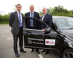 LLANELLI, WALES - Wednesday, August 28, 2013: Wales manager Jarmo Matikainen with the Mercedes-Benz sponsored car during the Semi-Final match of the UEFA Women's Under-19 Championship Wales 2013 tournament at Parc y Scarlets. (Pic by David Rawcliffe/Propaganda)