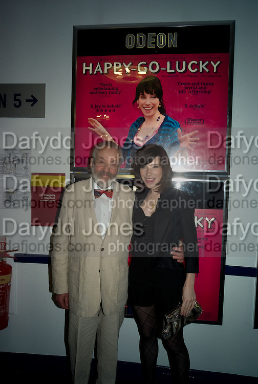 MIKE LEIGH AND SALLY HAWKINS, Happy-Go-Lucky directed by Mike Leigh film premiere at the Odeon, Camden. Afterwards party at The Proud Gallery, Camden. London. 14 April 2008.  *** Local Caption *** -DO NOT ARCHIVE-© Copyright Photograph by Dafydd Jones. 248 Clapham Rd. London SW9 0PZ. Tel 0207 820 0771. www.dafjones.com.