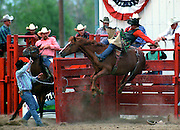 Bronc catches some air coming out of the chute