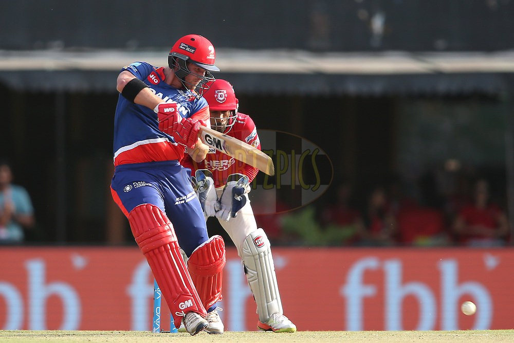 Corey Anderson of the Delhi Daredevils square cuts a delivery during match 36 of the Vivo 2017 Indian Premier League between the Kings XI Punjab and the Delhi Daredevils held at the Punjab Cricket Association IS Bindra Stadium in Mohali, India on the 30th April 2017<br /> <br /> Photo by Shaun Roy - Sportzpics - IPL