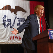 Republican presidential candidate Donald Trump at a campaign rally at the Memorial Auditorium in Burlington, Iowa.<br />