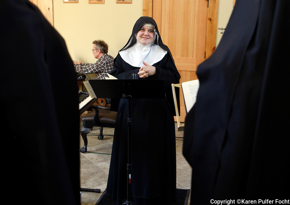Mother Cecilia directs her singing nuns. The Benedictines of Mary, Queen of the Apostles are cloistered nuns who have had four albums top the charts. They are releasing their latest album, Adoration at Ephesus, April 26, 2016.  The nuns recorded this album themselves, in their new chapel, in the quiet hills of Missouri where they farm, make vestments and spend their days in silence and prayer.