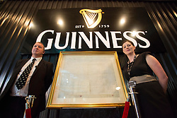 The original lease for St James's Gate pictured at the Guinness Storehouse, celebrating talent and creativity on Arthur's Day 2013. Picture Andres Poveda