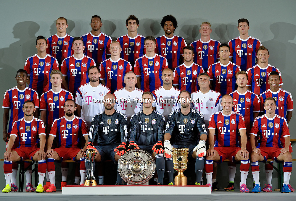 German Soccer Bundesliga - Photocall FC Bayern Munich in Munich on August 9, 2014: 4th Row (l-r): Holger Badstuber, Jerome Boateng, Javier Martinez, Dante, Bastian Schweinsteiger und Robert Lewandowski.Third Row(l-r): Claudio Pizarro, Pierre-Emile Hojbjerg, Sebastian Rode, Thomas Mueller, Juan Bernat, Thiago und Xherdan Shaqiri. Second Row (l-r): David Alaba, Mitchell Weiser, Goalkeeper Coach Toni Tapalovic, Assistant Coach Hermann Gerland, Head Coach Pep Guardiola, Assistant Coach Domenec Torrent, Mario Goetze und Julian Green. First (Front) Row (l-r): Rafinha, Franck Ribery, Goalkeeper Pepe Reina, Goalkeeper Manuel Neuer, Goalkeeper Tom Starke, Arjen Robben and Philipp Lahm.