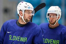 Anze Kopitar and Robert Sabolic at ice hockey practice one day before at IIHF World Championship DIV. I Group A Kazakhstan 2019, on April 28, 2019 in Barys Arena, Nur-Sultan, Kazakhstan. Photo by Matic Klansek Velej / Sportida