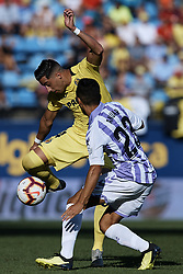 September 30, 2018 - Villarreal, Castellon, Spain - Funes Mori (L) of Villarreal CF competes for the ball with Anuar Mohamed Tuhani of Real Valladolid during the La Liga match between Villarreal CF and Real Valladolid at Estadio de la Ceramica on September 30, 2018 in Vila-real, Spain  (Credit Image: © David Aliaga/NurPhoto/ZUMA Press)