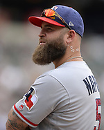 CHICAGO - JULY 02:  Mike Napoli #5 of the Texas Rangers looks on against the Chicago White Sox on July 2, 2017 at Guaranteed Rate Field in Chicago, Illinois.  The White Sox defeated the Rangers 6-5.  (Photo by Ron Vesely) Subject:   Mike Napoli
