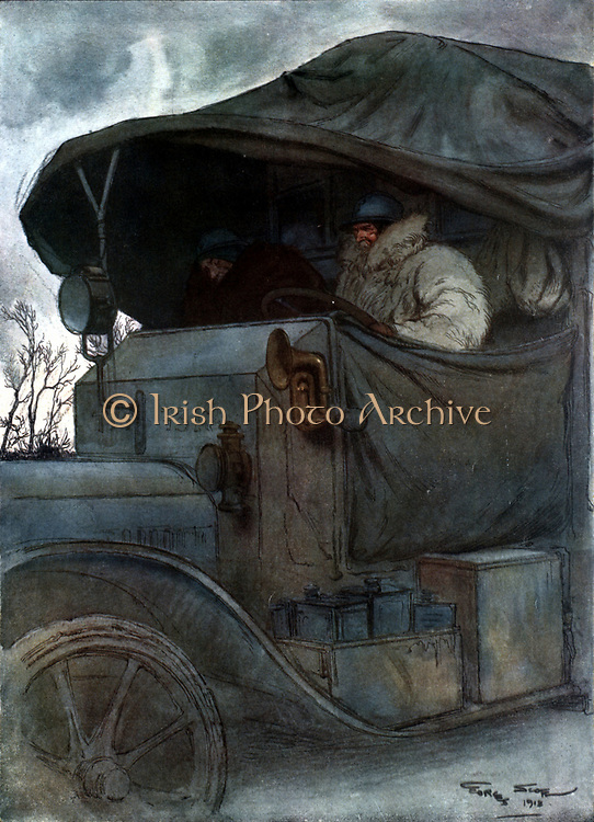 Au Volant' ('At the Wheel').  Motorised transport towards the end of World War I. After watercolour by Georges Scott (1880-1947) French war artist. 1918. CLEAR COPYRIGHT.