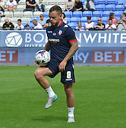 Jay Spearing warm up during the Sky Bet Championship match between Bolton Wanderers and Nottingham Forest at the Macron Stadium, Bolton, England on 22 August 2015. Photo by Mark Pollitt.