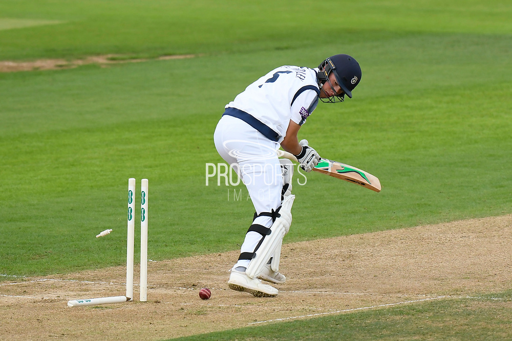 Wicket - Joe Weatherley of Hampshire is bowled by Jade Dernbach of Surrey during the Specsavers County Champ Div 1 match between Hampshire County Cricket Club and Surrey County Cricket Club at the Ageas Bowl, Southampton, United Kingdom on 6 September 2017. Photo by Graham Hunt.