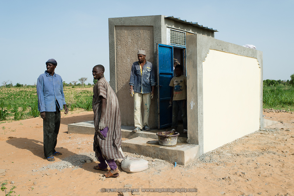 A  school latrine under construction in the village of Kanwa-Maraki in the Zinder Region of Niger on 25 July 2013. The school itself does not have buildings, only a collapsed thatch structure that is rebuilt after each rainy season.