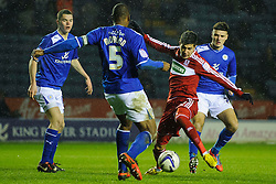 Middlesbrough Forward Emmanuel Ledesma (ARG) turns to shoot past Leicester Defender Wes Morgan (ENG) (capt) during the second half of the match - Photo mandatory by-line: Rogan Thomson/JMP - Tel: Mobile: 07966 386802 18/01/2013 - SPORT - FOOTBALL - King Power Stadium - Leicester. Leicester City v Middlesbrough - npower Championship.