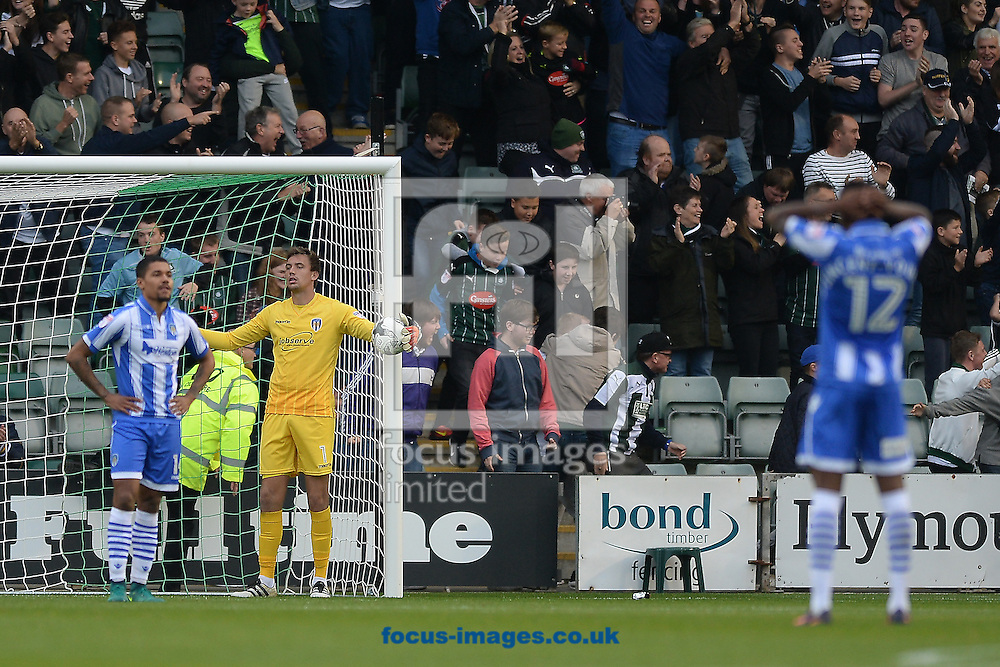 Goalkeeper Sam Walker of Colchester United looks on after his mistake leads to the Plymouth Argyle winner during the Sky Bet League 2 match between Plymouth Argyle and Colchester United at Home Park, Plymouth<br /> Picture by Richard Blaxall/Focus Images Ltd +44 7853 364624<br /> 29/10/2016