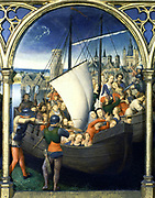 Shrine (Reliquary) of St Ursula, 1489. Gilded, painted wood. Hans Memling (1430/1440-1494) South Netherlandish painter.  St Ursula's (4th century) companions being murdered by Huns at Cologne. Pilgrimage Christian  Boat Ship Cog Sail