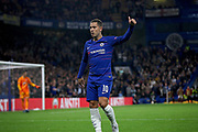 Chelsea FC forward Eden Hazard (10) giving the thumbs up during the Europa League match between Chelsea and MOL Vidi at Stamford Bridge, London, England on 4 October 2018.