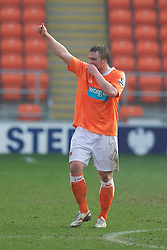 BLACKPOOL, ENGLAND - Wednesday, March 3, 2011: Blackpool's Sergey Kornilenko celebrates scoring the winning second goal against Liverpool during the FA Premiership Reserves League (Northern Division) match at Bloomfield Road. (Photo by David Rawcliffe/Propaganda)